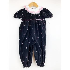 Velvet With Floral Embroidered Baby One Piece